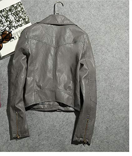 Più Giacca Premio Chiusura Pu Mogogowomen Cappotto Grigio Outwear Cerniera Dimensioni Scuro wTBxO7UnIq