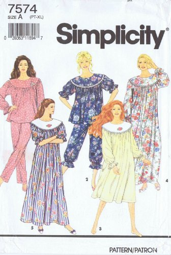 Simplicity 7574 Sewing Pattern For Misses XS S M L XL Pajamas Nightgown Muumuu Style Gathered Curved Yoke Ruffle Sleeve ()