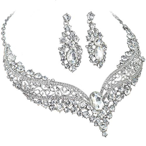Wedding Necklace Flower Rhinestone Crystal - YT297 Clear Rhinestone Crystal Alloy Earrings Necklace Set Bridal Wedding