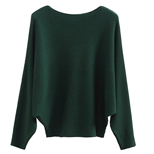 GABERLY Boat Neck Batwing Sleeves Dolman Knitted Sweaters and Pullovers Tops for Women (Green, One Size)