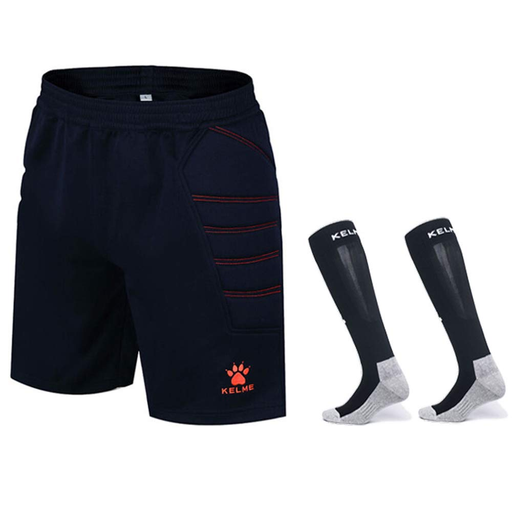KELME Goalkeeper Padded Shorts and Socks Bundle (Dark Blue/Orange, X-Large) by KELME
