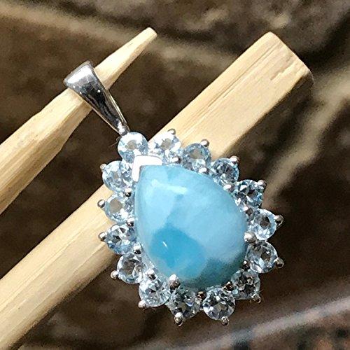 Natural Dominican Larimar 8ct Swiss Blue Topaz 925 Solid Sterling Silver Pendant 27mm - Natural Blue Larimar Pendant