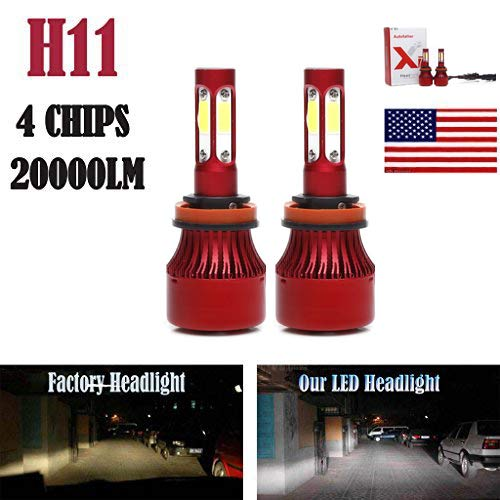 2Pcs H11 LED Headlight Bulbs Conversion Kit H8/H9 Car Headlamp 20000LM 6000K Cool White Hi/Lo Beam/DRL / Fog Light Replace for Halogen HID - Plug and Play