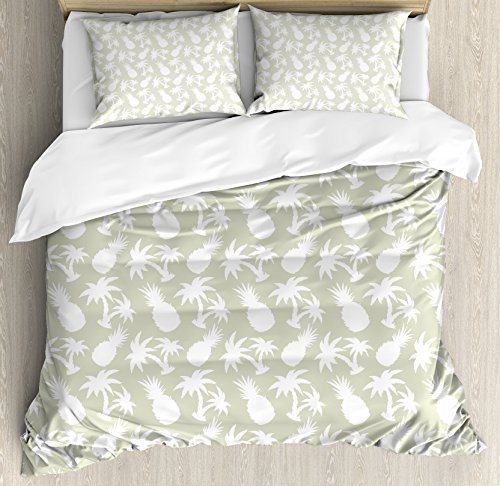 Pineapple Decor King Size Duvet Cover Set by Ambesonne, Silhouettes Coconut Palm Trees and Pineapples Floral Repeating Background Stylized Art, Decorative 3 Piece Bedding Set with 2 Pillow - Tree Pineapple Christmas