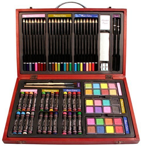 Nicole Studio Art & Craft Supplies Set in Wood Box for Drawing and Painting, 79 Piece, Multi Colors