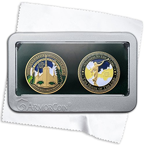 Armor Coin LDS Portland OR Temple Medallions with Deluxe Display Tin Box and Bonus polishing Cloth - 2 Medallion Set