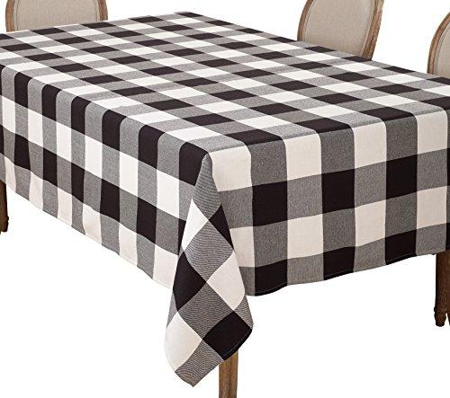 SARO LIFESTYLE Buffalo Plaid Check Design Cotton Tablecloth, 65'' x 160'', Black by SARO LIFESTYLE