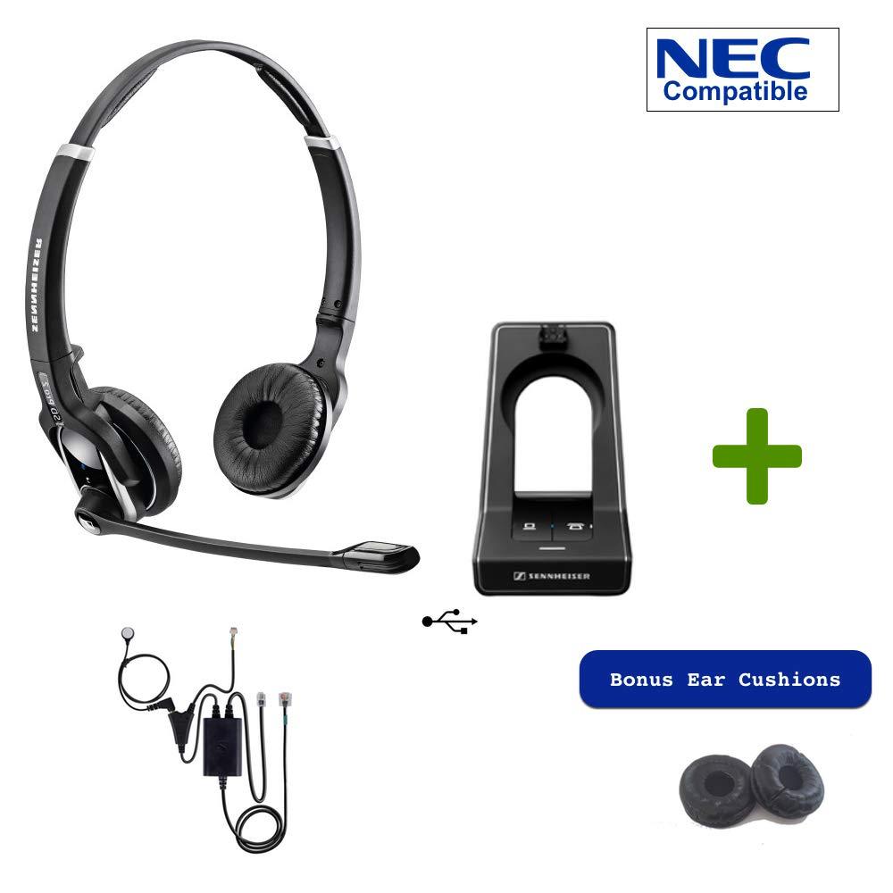 Sennheiser SD PRO2 - Deskphone Cordless Headset with NEC EHS Adapter | Compatible Phones: Digital NEC Phones DT3xx and DT4xx, IP Phones DT7xx and DT8xx (i-SIP/N-SIP)