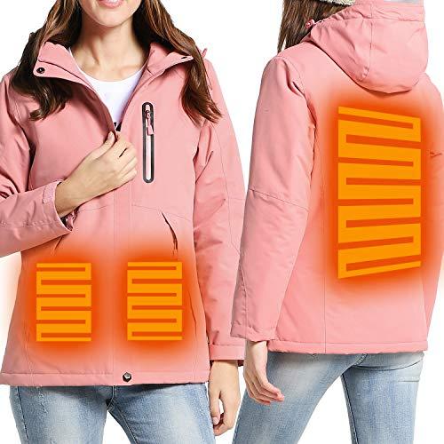 Vgowater Women's Heated Jacket Hoodies Windbreaker Waterproof Windproof Outdoor Coat (Pink, 2XL)