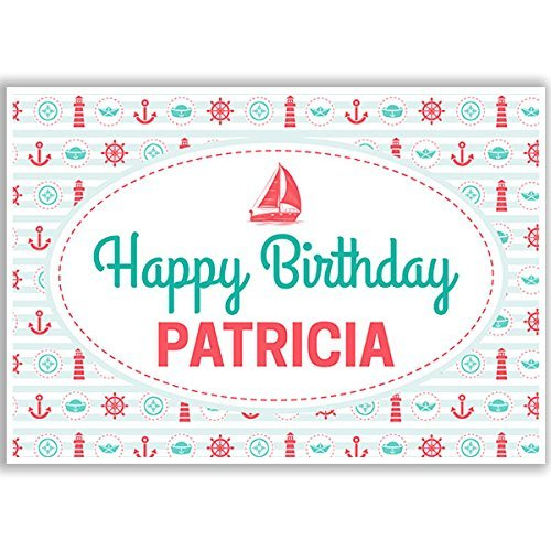 Nautical Mellow Green and Red Pattern Birthday Banner Party Decoration Backdrop
