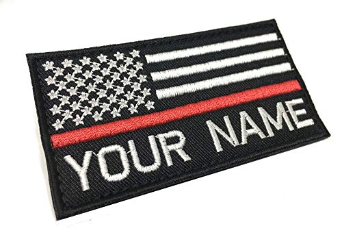 - Personalized Custom Embroidered USA Flag with Thin Red Line Name Patch Hook Fastener Backing (Regular)