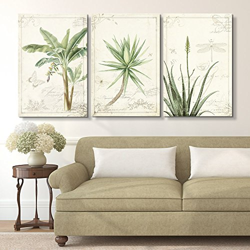 3 Panel Vintage Style Tropical Plants x 3 Panels