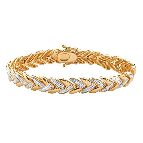 - White Diamond Accent Pave-Style 18k Gold-Plated Laurel Leaf Bracelet 7.5