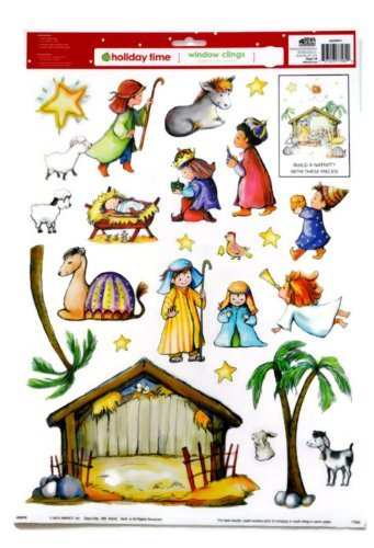 Christmas Reusable Window Clings ~ Build Your Own Nativity Scene (23 Clings, 1 - Window Nativity