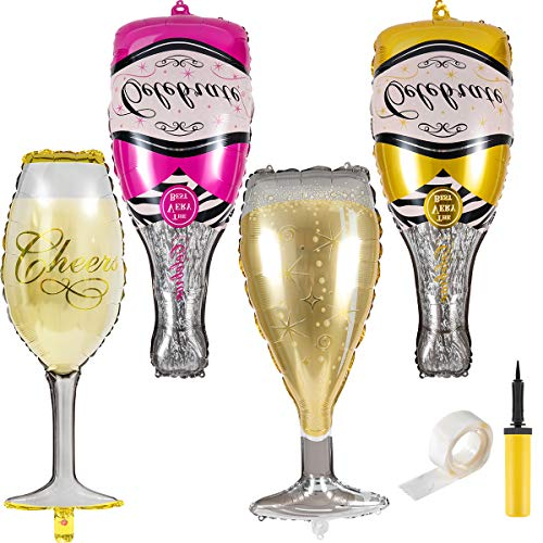 Apipi 4 Pcs Aluminum Film Champagne Bottle Goblet Wine Glass Hydrogen Helium Foil Balloons for Birthday, Engagement, Wedding, Anniversary, Bachelorette, Bridal Shower Party Decorations Supplies -