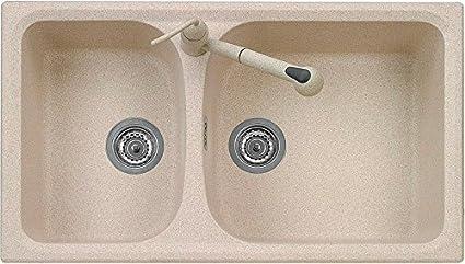 Lavello Cucina Incasso 2 Vasche 86 cm Ultragranit Bianco ...