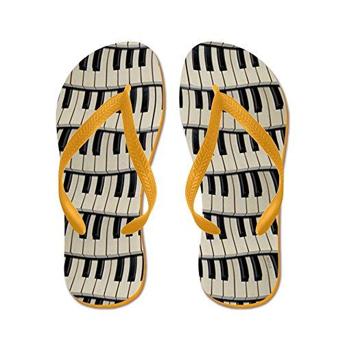 Cafepress Rock En Rock Piano Toetsen - Flip Flops, Grappige String Sandalen, Strand Sandalen Oranje