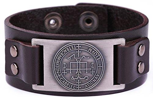 fishhook Key of Solomon The Sigil of the Archangel Gabriel Talisman Bangle Leather Bracelet(Antique Silver, Brown) ()