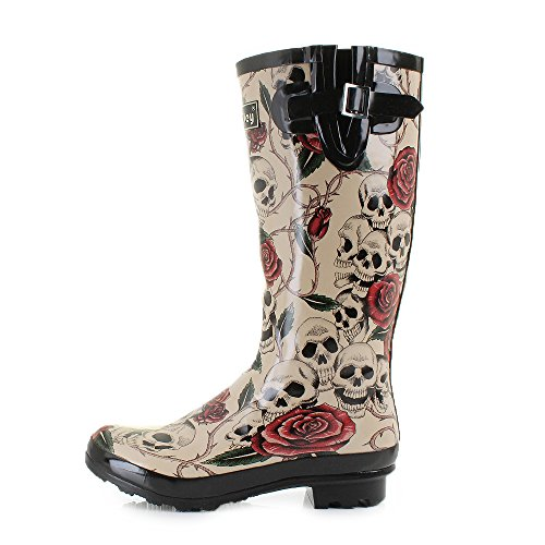 Womens Wyre Skull and Roses Print Wellies Festival Wellington Boots 6r9cTCU