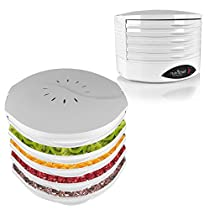 NutriChef PKFD18WT Kitchen Electric Countertop Food Dehydrator, Food Preserver with 5 Stackable Trays , White Drawer
