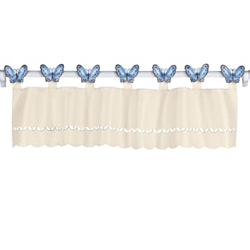 Amazon.com: Butterfly Tab Top Valance with Scalloped Edge, Blue ...