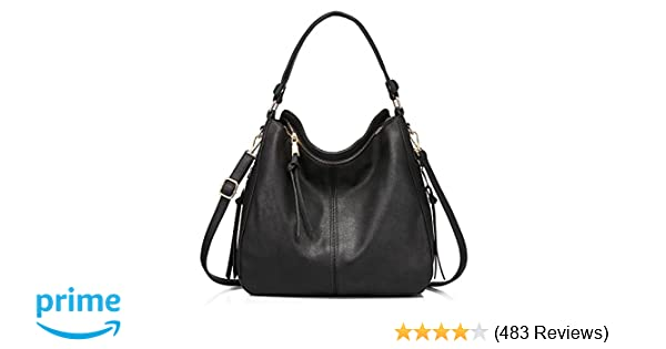 1f5f98917f Amazon.com  Handbags for Women Large Designer Ladies Hobo bag Bucket Purse  Faux Leather  Shoes