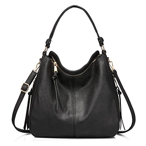 Handbags for Women Large Designer Ladies Hobo bag Bucket Purse Faux Leather (Black)