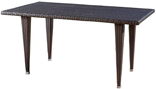 Noble House Gloria Multi-Brown Rectangular Wicker Outdoor Dining Table