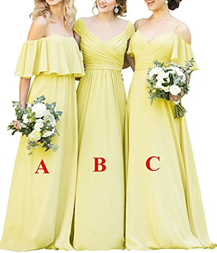 Bridesmaid Ruffles Gowns Yilisclothing Simple Dress Chiffon Line Evening Yellow Long a Prom A Women's 5p5SrqX