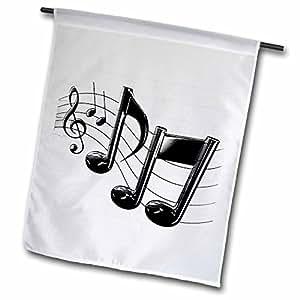 3dRose fl 4105_ 1notas de la música bandera de Jardín, 12por 18pulgadas