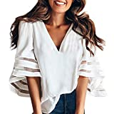 Women V Neck Flare Sleeve Tops Shirt Tee Ladies Solid Sweatshirt Pullover Blouse