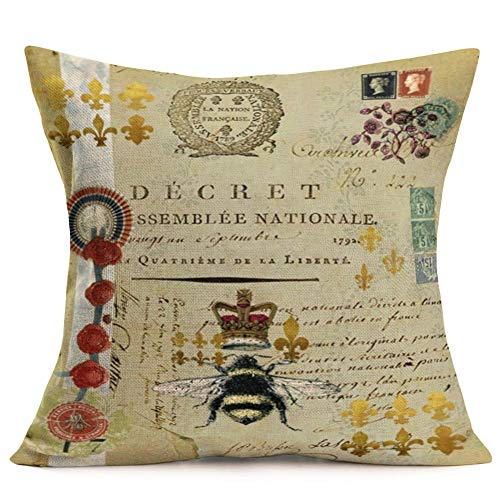 Fukeen Throw Pillow Covers Vintage French Queen Honey Bee with Crown Decorative Pillow Cases Retro Stamp Lettering Background Home Living Room Decor Cotton Linen 18