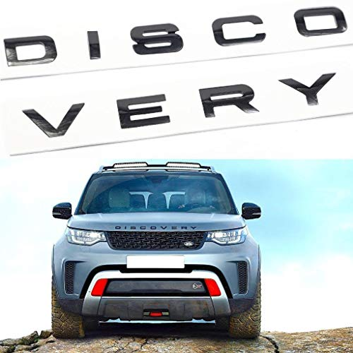 Car Sales 3D Bright black Letter DISCOVERY Car Rear Front Badge Emblem Decal Sticker For L-A-N-D R-O-V-E-R Front Hood Rear Trunk (Discovery, Bright black)