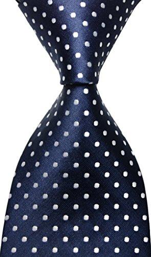 Best Collection® New Classic Polka Dot Dark Blue White 100% Jacquard Woven Silk Mens Tie Necktie