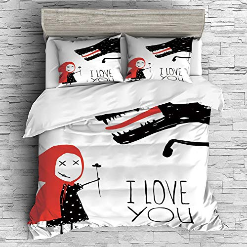 All Season Flannel Bedding Duvet Covers Sets for Girl Boy Kids 4 Pcs (double size)I Love You,Little Girl Giving Flower Bouquet to Wolf Cartoon Fairytale Characters Decorative,Red Charcoal Grey
