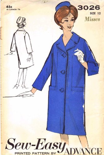 Advance 3026 Vintage Sewing Pattern Coat and Pillbox Hat Size 12 Bust 32