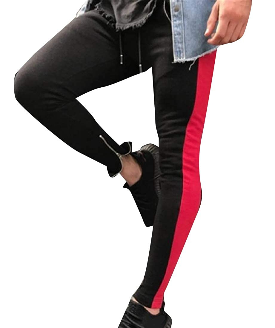 SportsX Mens Color Block Slim-Tapered Jogger Pants with Strings