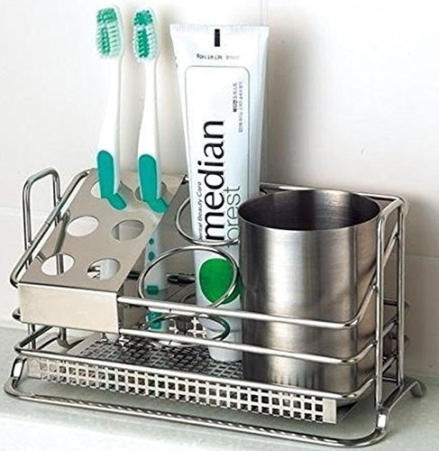Stainless Steel Toothbrush Holder Stands Toothpaste Cup Storage Bathroom by STAFIX - Bathroom Holder