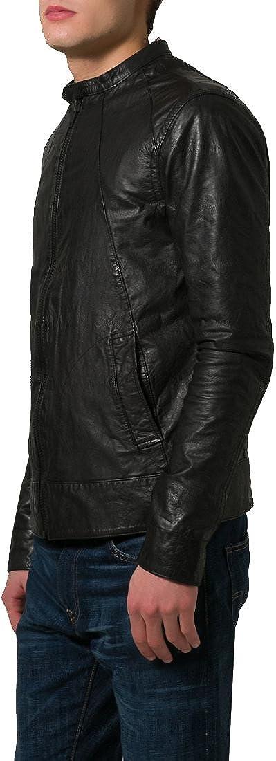 New Mens Genuine Cow Leather Slim Fit Biker Motorcycle Jacket for Men LFC372 XL