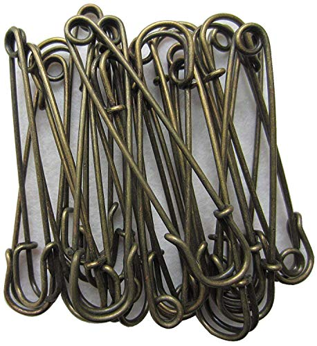 LeBeila Large Safety Pins, Strong Blanket Pins In Bulk Heavy Duty And Stainless Steel & Sharp (20pcs, Bronze)