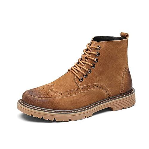 Hombres Botas Martin Botas con Cordones De Cuero Zapatos De Ocio para Hombre Suela Oxford Botines Antideslizantes Botas De Trabajo: Amazon.es: Zapatos y ...