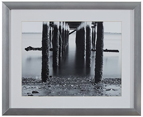 """Under the Pier Black and White Photo in Silver Frame, 15"""" x 13"""""""