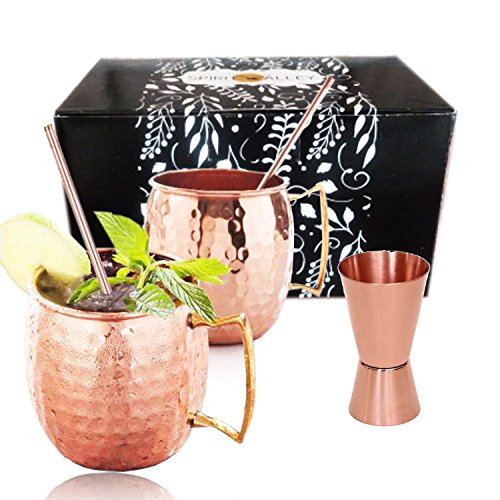 Spirit Valley Moscow Mule Copper Mugs and Straws with bonus jigger, Set of 2 16 Oz Cups (Spirit Cups compare prices)