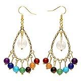 JOVIVI Rainbow 7 Chakra Healing Crystal Quartz Teardrop Dangle Earrings/Bohemia Chandelier Earrings for Women