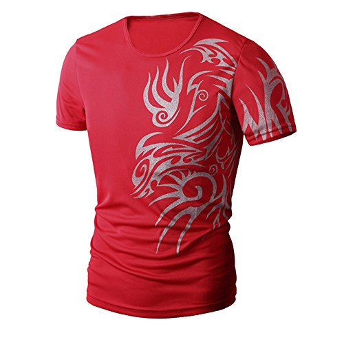PASATO Men Summer Round Neck Tee Printing Men's Short-Sleeved T-Shirt Top Blouse(Red,M=US:S) by PASATO Blouse For Men (Image #3)