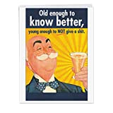 NobleWorks Jumbo - Funny Birthday Card: 'Old enough' with Matching Envelope Extra Large Version, 8.5 x 11 Inches (J5411)