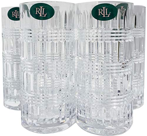 (Lauren By RALPH LAUREN Ettrick Pattern Highball Drinkware Set of 4 Crystal Glasses 11.6 Ounces)