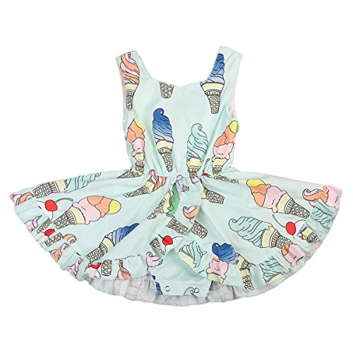 ONE'S Infant Toddler Girls Cute Ice Cream Pattern Summer Sleeveless Romper Jumpsuit Dress (12-18 Months, Green)