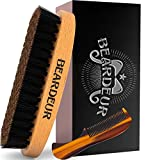 Beard Brush, Best Natural Wooden Hair Brush For Men, 100% Firm Black Wild Boar Bristle, Use with Balm & Beard Oil to Style & Groom, Premium Military Style Palm Brush for Beard Care, Barbers Tool