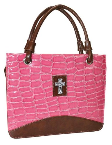 (Purse with Silver Cross Crock Embossed Large Pink Bible)